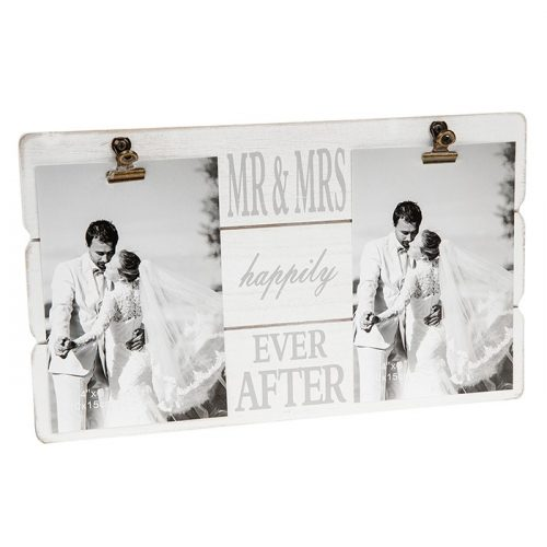 White Message Clip Double Photo Frame Mr & Mrs