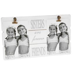 White Message Clip Double Photo Frame Sisters