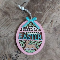 Oval Pink Happy Easter Decoration