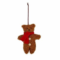 Brown Teddy Bear Figure Christmas Decoration