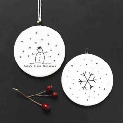 East of India 'Baby's First Christmas' Flat Porcelain Bauble