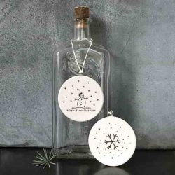 East of India 'Baby's First Christmas' Flat Porcelain Bauble Bottle