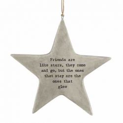 East of India 'Friends Like Stars' Rustic Hanging Star White