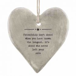 East of India 'Friendship' Rustic Hanging Heart White