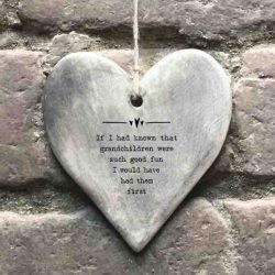 East of India 'Grandchildren' Rustic Hanging Heart