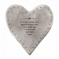 East of India 'Grandchildren' Rustic Heart Coaster White
