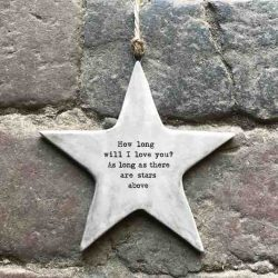 East of India 'I Love You' Rustic Hanging Star