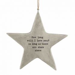 East of India 'I Love You' Rustic Hanging Star White