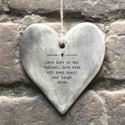 East of India 'Live Life' Rustic Hanging Heart