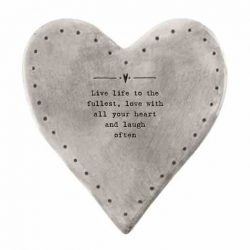 East of India 'Live Life' Rustic Heart Coaster White