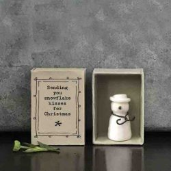East of India Matchbox Porcelain Snowman