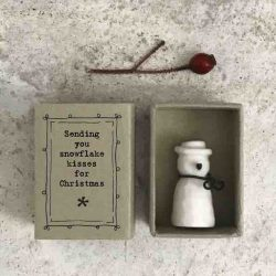 East of India Matchbox Porcelain Snowman White
