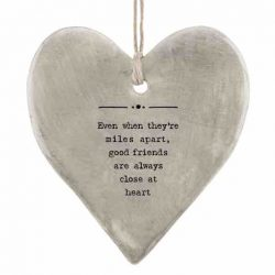 East of India 'Miles Apart' Rustic Hanging Heart White