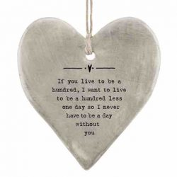 East of India 'One Hundred' Rustic Hanging Heart White