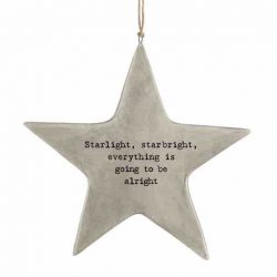 East of India 'Starlight' Rustic Hanging Star White