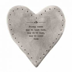 East of India 'Strong Women' Rustic Heart Coaster White