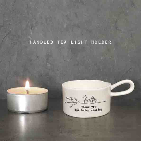 East of India 'Thank You' Handled Tea Light Holder