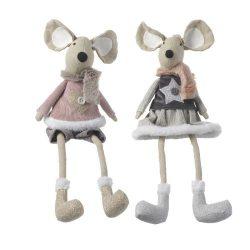 Fabric Sitting Girl & Boy Mouse