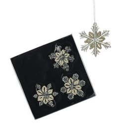 Hanging Silver Glass Snowflake Decoration