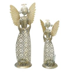 Gold Metal Angel T Light Holder