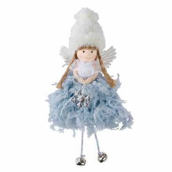 Grey Angel Girl Figure Christmas Decoration
