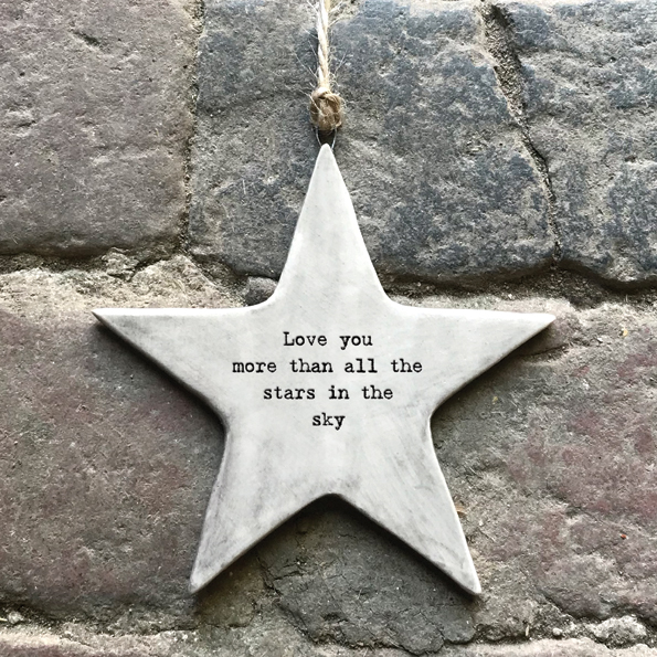 East of India 'Love You More' Rustic Hanging Star