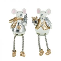 Sitting Gold & Silver Mice with Long Legs