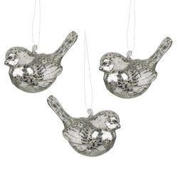 Silver Glass Bird Hanging Decoration