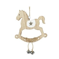 Wooden Horse with Bells Hanging Decoration