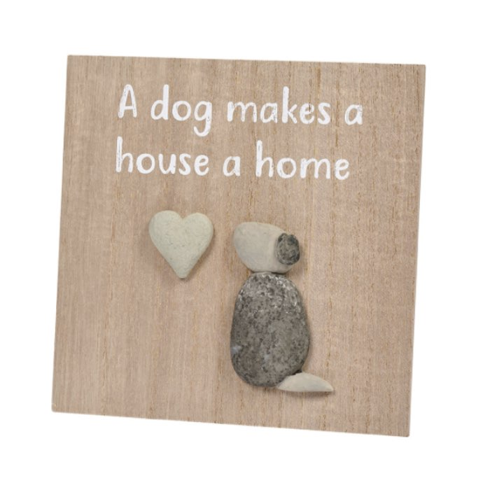dog-makes-a-home-pebble-plaque