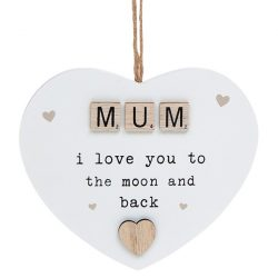 Scrabble Sentiment Hanging Heart Mum
