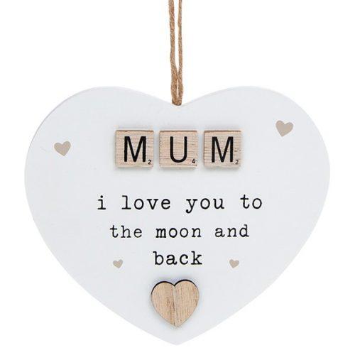 Scrabble Sentiment Hanging Heart Mum
