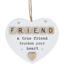 Scrabble Sentiment Hanging Heart Friend