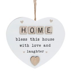 Scrabble Sentiment Hanging Heart Home
