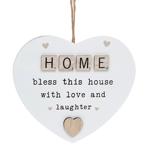 Scrabble Sentiment Hanging Heart Home