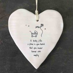 East of India 'A Baby Fills' Porcelain Hanging Wobbly Heart