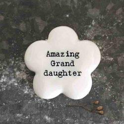 East of India 'Amazing Granddaughter' Porcelain Flower Token
