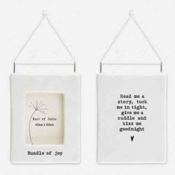 East of India 'Bundle Of Joy' Porcelain Hanging Frame White