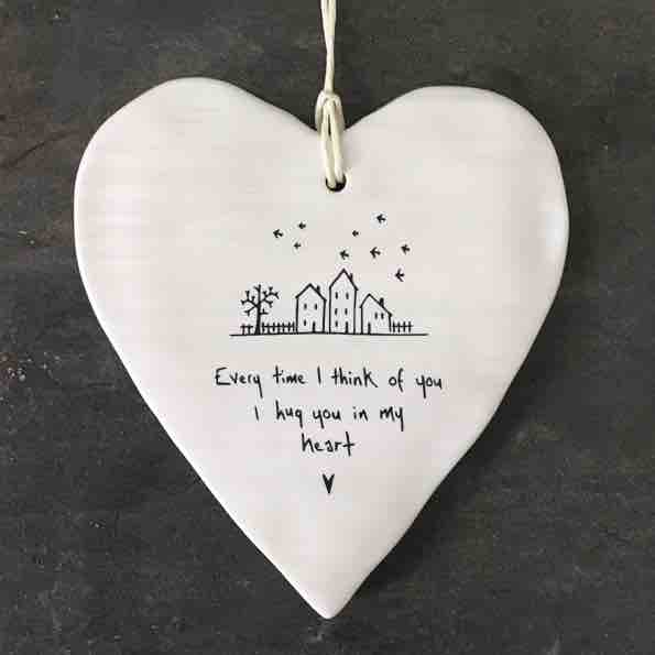 East of India 'Every Time' Porcelain Hanging Wobbly Heart