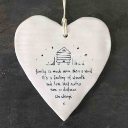 East of India 'Family' Porcelain Hanging Wobbly Heart