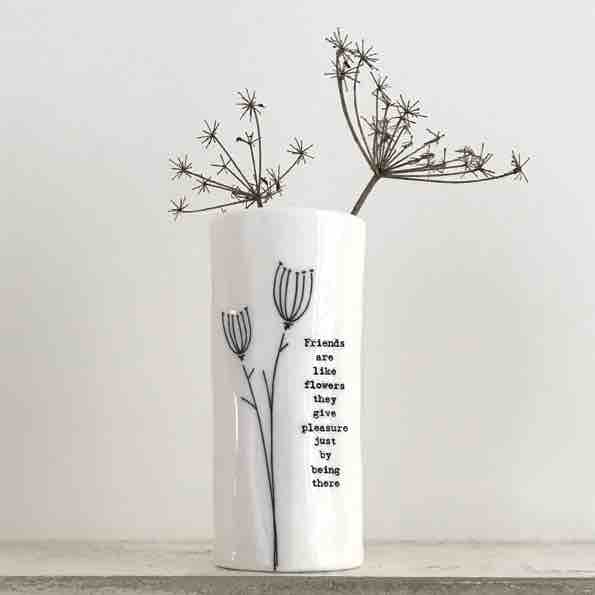 East of India 'Friends Are Like Flowers' Medium Porcelain Vase