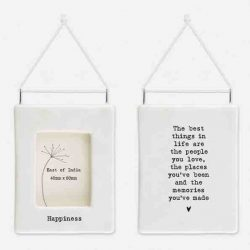 East of India 'Happiness' Porcelain Hanging Frame White