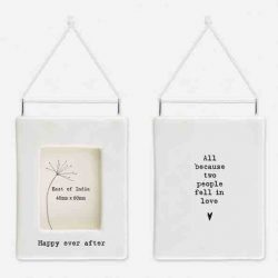 East of India 'Happy Ever After' Porcelain Hanging Frame White