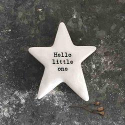 East of India 'Hello Little One' Porcelain Star Token