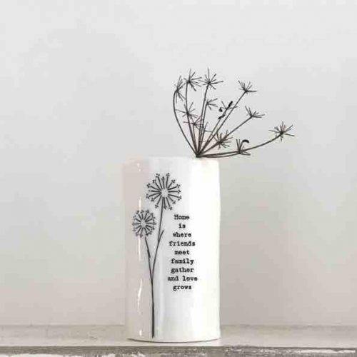 East of India 'Home Is Where Friends Meet' Small Porcelain Vase