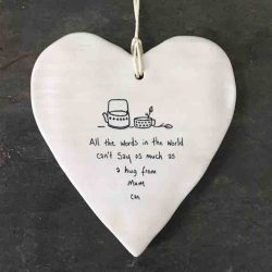 East of India 'Hug From Mum' Porcelain Hanging Wobbly Heart