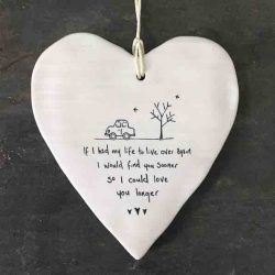 East of India 'Life Over Again' Porcelain Hanging Wobbly Heart