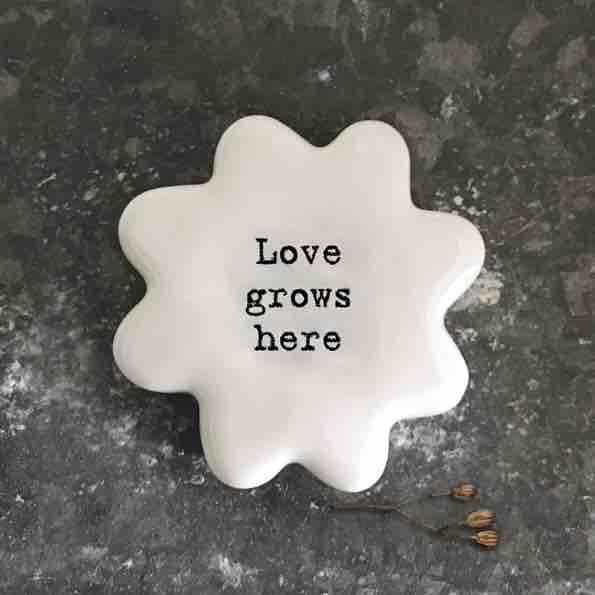 East of India 'Love Grows Here' Porcelain Flower Token