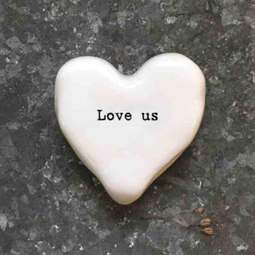 East of India 'Love Us' Porcelain Heart Token