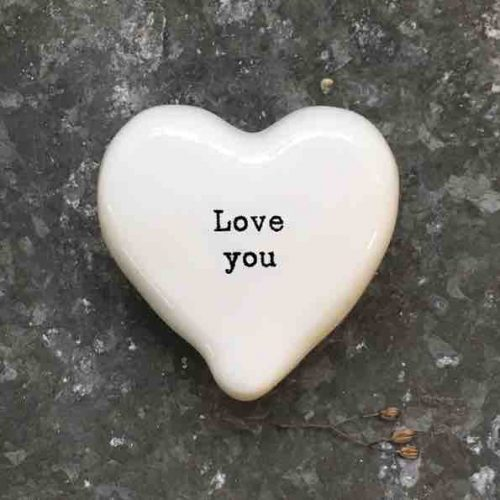 East of India 'Love You' Porcelain Heart Token